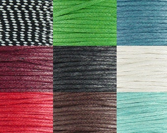Cotton Wax Cord By the Yard CHOICE Black White Blue Red Brown Green Brick Lt Blue 1.5mm thick (1012cor02m1)