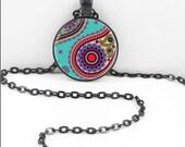 Hindu Paisley Necklace, Hindu Paisley Pendant, Gothic Paisley WIccan Pagan Bohemian Gypsy Jewelry PAS16
