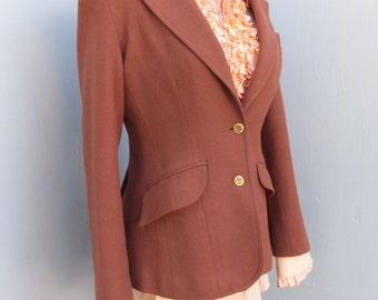Vintage 1970s Jacket, College Town, Wool Jacket, Academia, Preppy, School Blazer or Jacket,  Brown, Medium