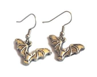 Vampire Bat Earrings, Antique Silver Color. Gothic, Grunge, Steampunk, Flying Bat Earrings. Hostess Gift, Vintage Style Bat Charm Earrings.