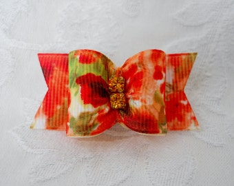 """7/8"""" Floral Watercolor Dog Bow"""