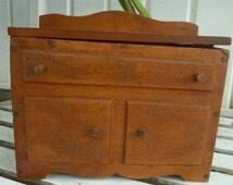 Vintage Salesman  Sample Doll House Furniture Dining Room Server Keep Sake Box Hand Made Virginia