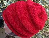 Knit Slouchy Ski Hat Red Beanie