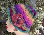 Knit Cloche Rainbow Hat with Flower
