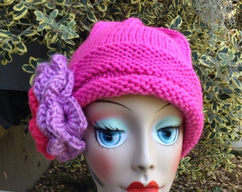 Knit Cloche Pink Ladies Hat Flower Hat