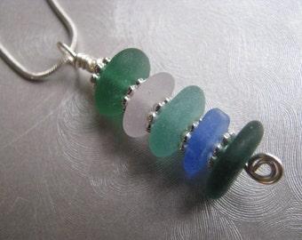 Blue Green Aqua Amethyst Sea Glass Pendant - Stacked Beachglass Pendant - Sea Glass Jewelry