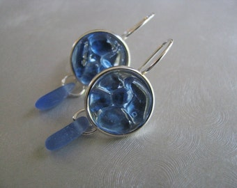 Drop Earrings - Sea Glass Circles - Blue Mosaic Earrings - Cornflower Blue Sea Glass - Dangle Earrings