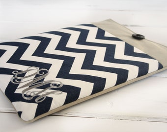 "Monogrammed Personalized Navy Chevron Macbook Sleeve|Macbook Case|15"" Navy Chevron Monogram Laptop Sleeve"