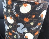Car Trash Bag Reusable in Gray Squirrels and White and Yellow Pumpkins and Orange Leaves, Car Accessory, Litter Bag