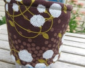 Handmade Coffee Cozy or Sleeve in Brown with White Buds and Green Leaves,Coffee Sleeve, Cup Sleeve