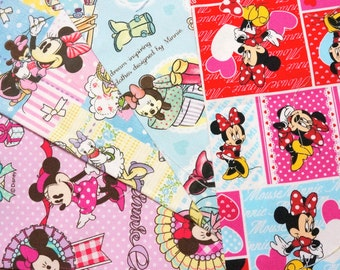 Disney fabric scrap Minnie  Mouse 25 cm by 25 cm or 9.6 by 9.6 inches each piece 2015Dc