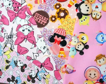 Disney  fabric scrap Disney tsum tsum Marie Minnie mouse  2015Dc