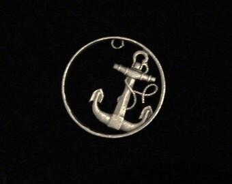 SPAIN - cut coin pendant / charm - ANCHOR - 1949