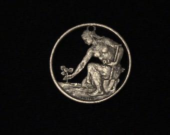 Czechoslovakia - cut coin pendant - w/ Woman Farming Linden - 1969