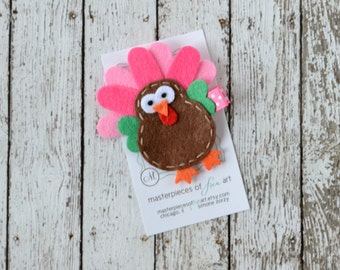 Pink Felt Turkey Hair Clip - Thanksgiving Clips - Chocolate Brown, Hot Pink, Light Pink - Fall and Autumn Holiday Hair Bows