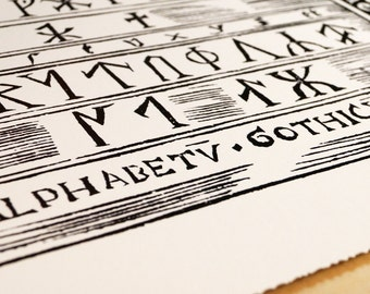 """Runic Alphabet antique Print on eco Bamboo paper with textured edge Made in Canada! 11"""" x 17"""" & 8.5"""" x 11"""" Ancient runes Scandinavia Viking"""