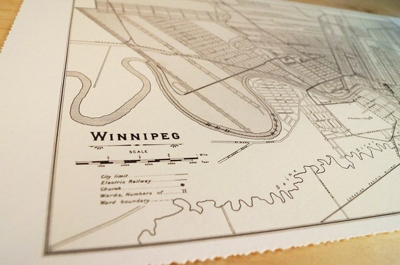 Old map of Winnipeg antique map print on eco bamboo paper Canadian made in Canada souvenir Ontario YWG