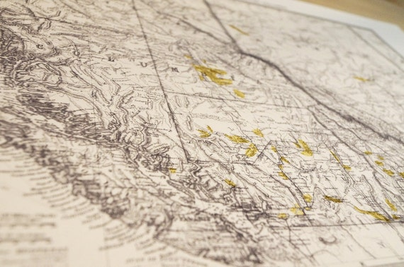 Old Map British Columbia Gold Fields Canada Antique Map Print on Eco Bamboo paper BC Canadian Made in Canada! West Coast Pacific BC Rockies