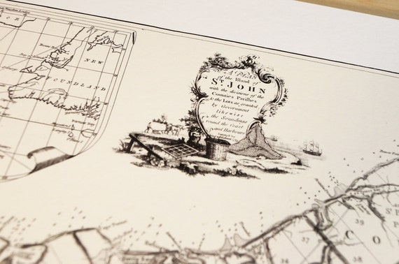 Prince Edward Island Canada - Antique Map Print on Eco Bamboo paper with textured edge - Made in Canada! East Coast Maritimes Saint John PEI