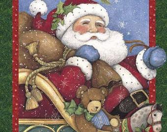 FABRIC Huge CHRISTMAS SANTA Believe 3-D Panel Wallhanging