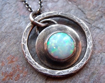 Opal Cabochon Sterling Silver Pendant Necklace