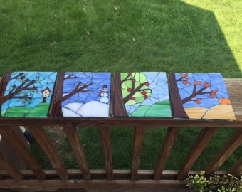 Stained Glass Four Season Tile Set