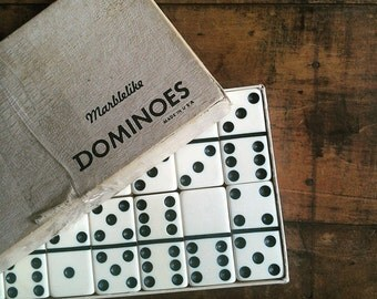 Vintage Marblelike Dominoes | Complete Set of 28 | Classic Game Pieces |  Old Black and White Dominos | Game Room Decor | Jar Fillers