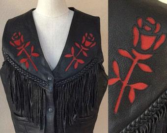 Black Leather Biker Vest.Red Rose Cut Outs,Woman's Biker Vest,fringe Leather, 70's Vintage