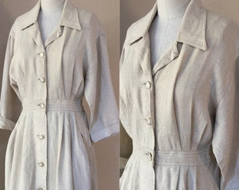 Cream Linen Day Dress, Designer,I.Magnin,60's Autumn Dress,pleated Dress, Fall Vintage.