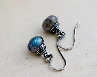 Labradorite Earrings, Drop Earrings, Labradorite Jewelry, Gemstone Earrings, Gemstone Jewelry, Dangle Earrings, Sterling Silver, PoleStar