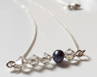 Crystal and Pearl Bar Necklace