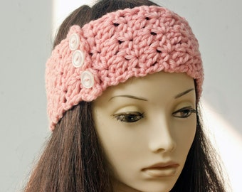 Hand Crochet Pink Headband, Button Head Band, Wool Ear Warmers, Chunky Head Wrap, Ready to Ship