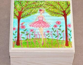 Ballerina Jewelry Box, Ballet Dancer Wooden Jewelry Box, Girls Trinket Box