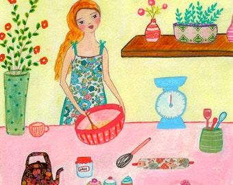 Baking Cakes Art Print - Baking Art - Cakes Art Print - Kitchen Decor - Retro Kitchen Wall Art - Kitchen Decor - Retro Pastel Kitchen Decor