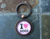 I love dogs - round glass key chain