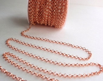 10 Ft Rose Gold Cross Chain, Jewelry making & Craft supply, Electroplated Un-welded Brass, 4 mm X 1 mm