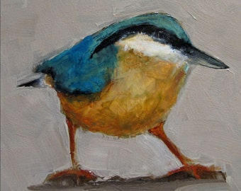 NUTHATCH BIRD  Abstract Art Giclee print from my original oil painting