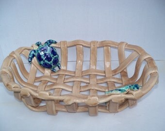 Woven ceramic basket with cobalt blue /aqua turtles- fruit bowl-bread basket-beach home decor-centerpiece