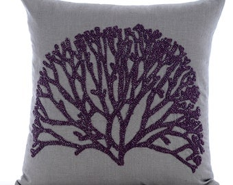 Grey Euro Sham Covers 24x24 Inches Linen Embroidered Pillows for Sofa and Bed Faraway Tree