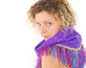 Lila Luna -  Felt Infinity Scarf in Purple Ultraviolet with Silk. Fringe Cowl, Handmade tassle trim with funky ribbons and yarn, Ibiza Scarf