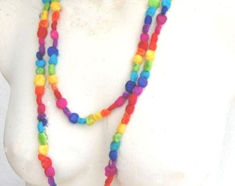 Rainbow Dots a Felt Necklace from the Candy Collection - A colourful necklace made with felted beads.