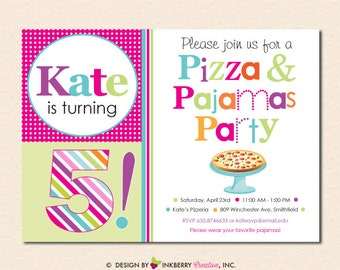 Pizza & Pajamas Birthday Party Invitation (Digital File - Printed Cards Also Available)