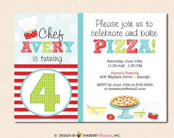 Birthday Pizzeria - Pizza Baking Birthday Party Invitation (Digital File - Printed Cards Also Available)