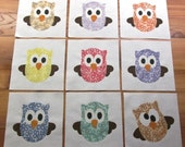 """9 Whimsical Cross-eyed Owl """"One in Every Crowd"""" 6"""" x 6"""" Quilt Blocks in Vintage Style 1930's Fabrics"""
