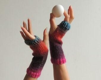 Hand Knit Gloves - Wool Gloves - Hand Knit Fingerless Gloves -Hand Knit  Winter Gloves - Wrist Warmers - New York Elegant Warm Gloves - #159