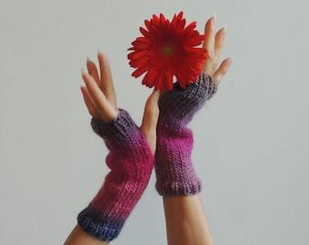 Hand Knit  Fingerless Gloves - Hand Knit Gloves - Hand Knit Mittens - Hand Knit Winter Gloves - Wrist Warmers - NY Elegant  Gloves -#166