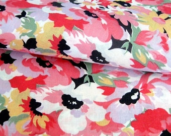 Vintage Cotton Dress - Floral Print Pink and Yellow Flowers with Soft Green Leaves - Concord Fabrics