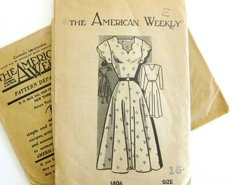 1940s Vintage Dress Pattern - American Weekly 3806 -Full Skirt Dress with Scalloped V-Neckline and Cap Sleeves / Size 16