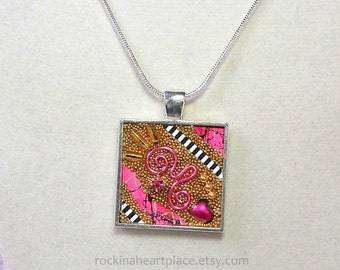 Original Microbead Collage Pendant in antiqued silver tone bezel, with silver tone snake chain