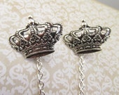 Crown Sweater clips Crown tie tacks Cardigan clips collar clips silver sweater guard Collar Chains